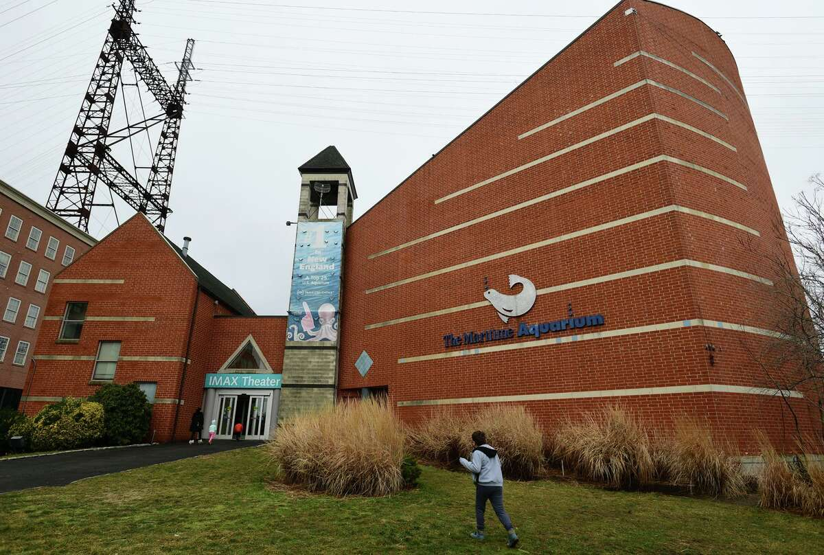 the maritime aquarium's IMAX theater hosts its final showings Saturday, January 16, 2021, in Norwalk, Conn. The theater will be demolished later this year to make way for the Walk Bridge replacement.