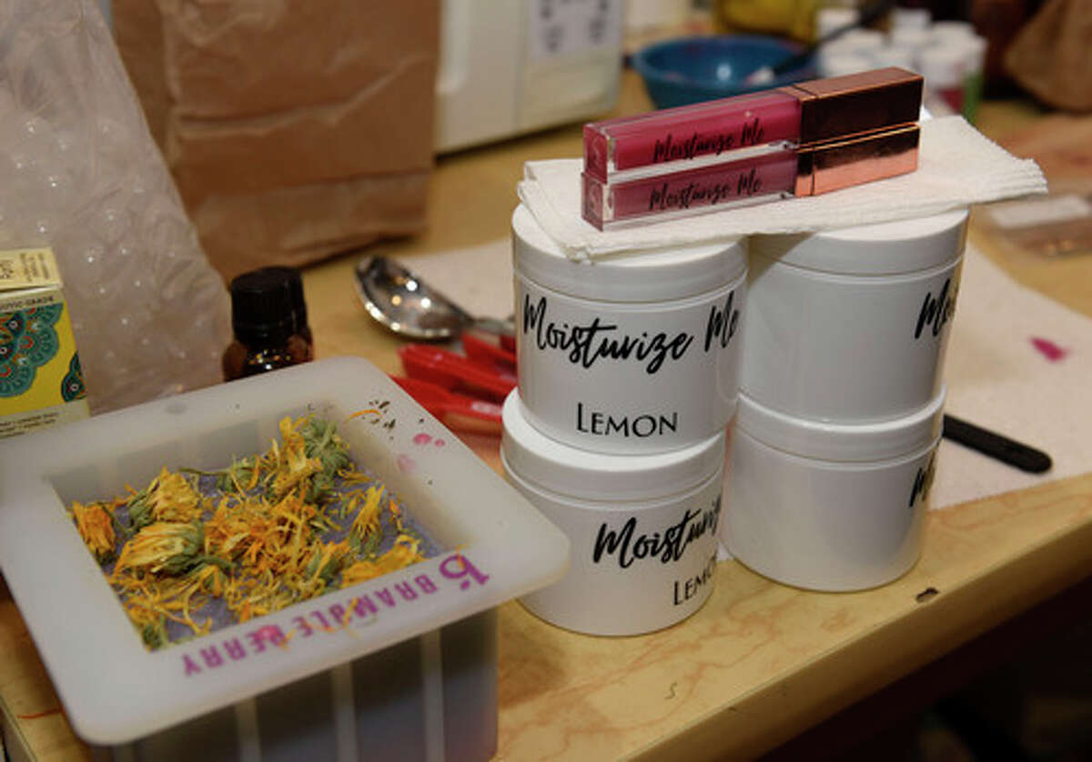 Finished products and products in the process of being made are seen in the home of Tiffany Garriga for her business Moisturize Me on Wednesday, Jan. 13, 2021 in Hudson, N.Y. (Lori Van Buren/Times Union)