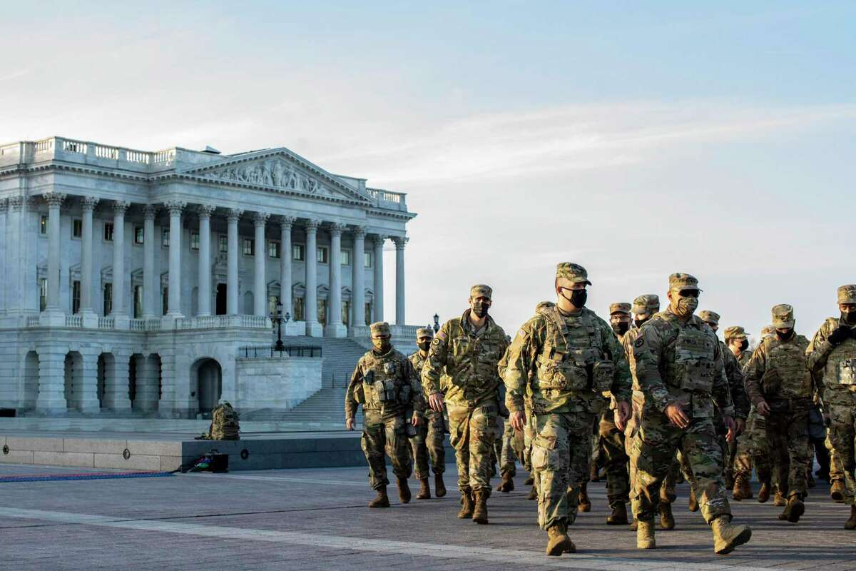 National Guard troops at the Capitol in Washington on Thursday, Jan. 14, 2021.