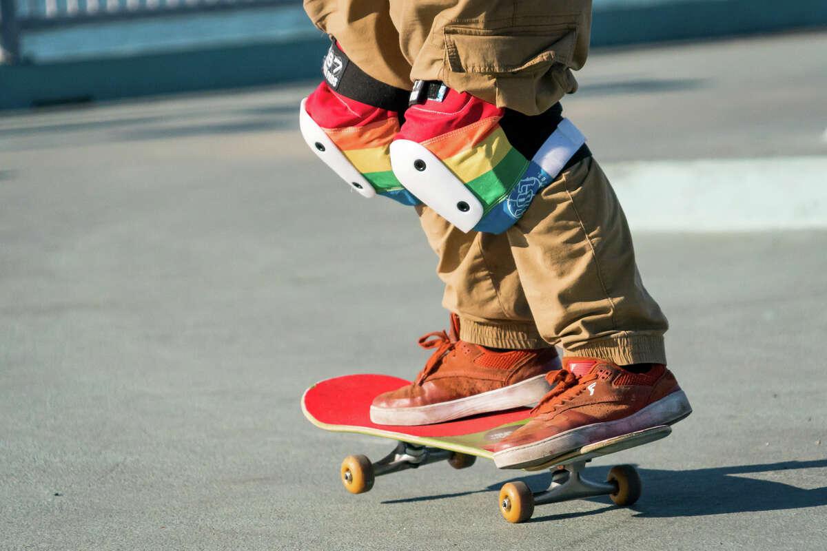 Chub Rollz members met up in Oakland, Jan. 16, 2021, to pick up skate decks, skateboards, helmets, and pads for their program Skate Like a Girl SF.