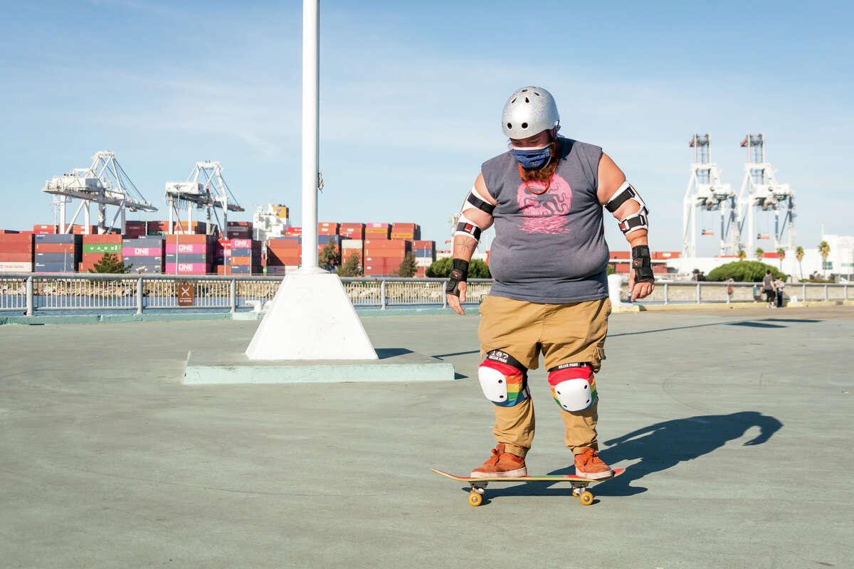 Chub Rollz members met up in Oakland, Jan. 16, 2021, to pick up skate decks, skateboards, helmets and pads for their program Skate Like a Girl SF.