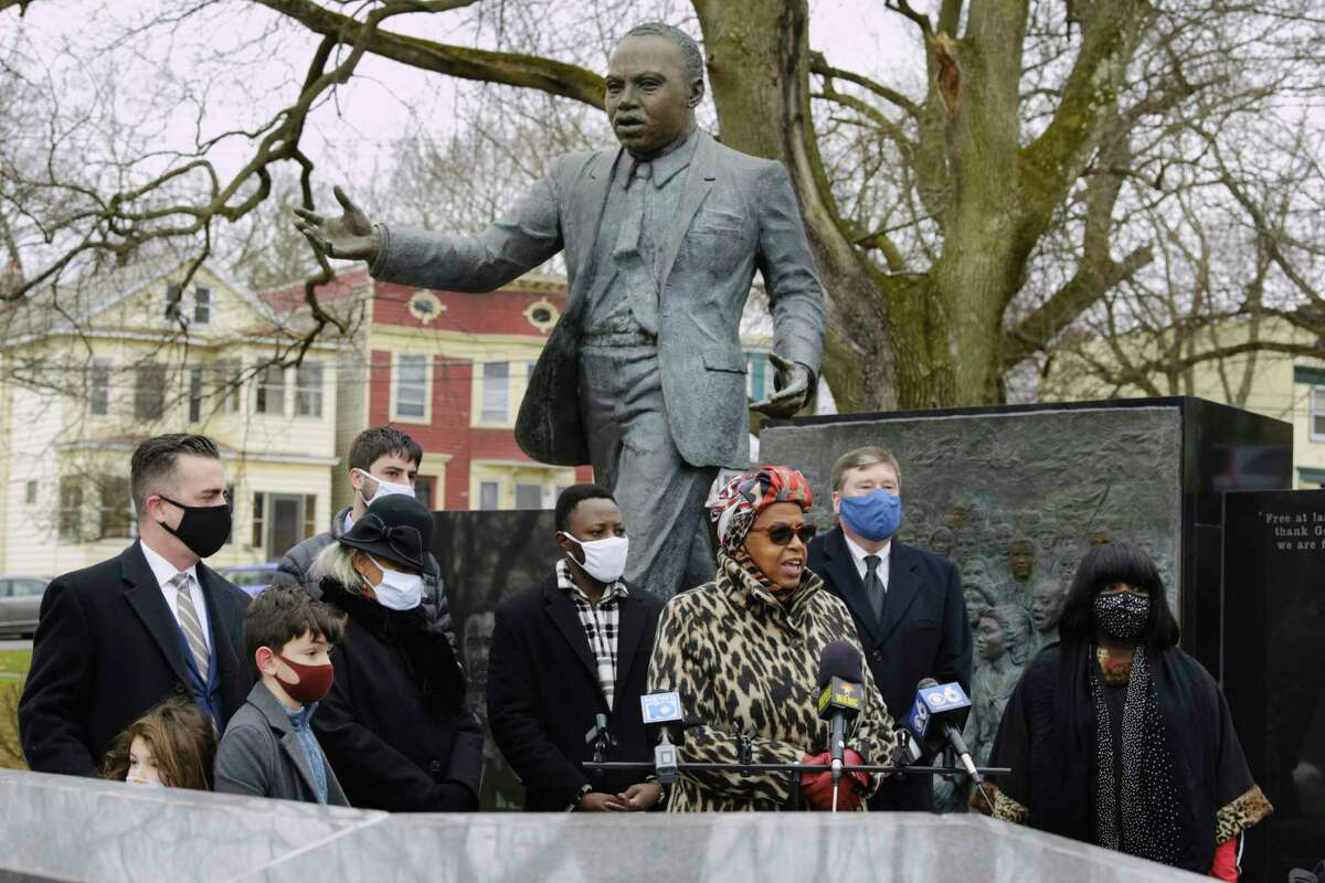 Albany County Legislator Carolyn McLaughlin speaks at a wreath laying ceremony at the Dr. Martin Luther King, Jr. monument in Lincoln Park on Monday, Jan. 18, 2021, in Albany, N.Y. (Paul Buckowski/Times Union)