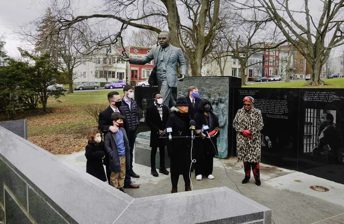 Albany County Legislator Wanda Willingham speaks at a wreath laying ceremony at the Dr. Martin Luther King, Jr. monument in Lincoln Park on Monday, Jan. 18, 2021, in Albany, N.Y. (Paul Buckowski/Times Union)
