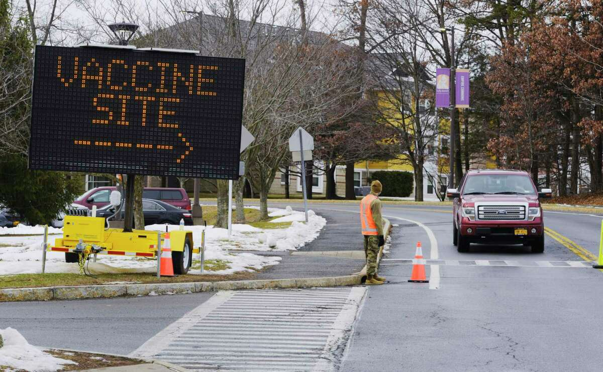 A message board shows directions for those arriving at the New York State Covid-19 vaccination site at the University at Albany on Monday, Jan. 18, 2021, in Albany, N.Y. (Paul Buckowski/Times Union)