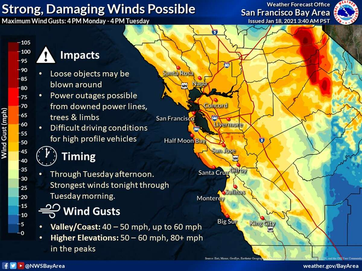 High winds are forecast for the entire Bay Area through Tuesday.