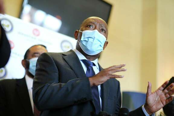 Houston Mayor Sylvester Turner talks to the media as the Houston Health Dept., rolls out public vaccines for COVID at Bayou City Events Center in Houston on Saturday, Jan. 2, 2021.