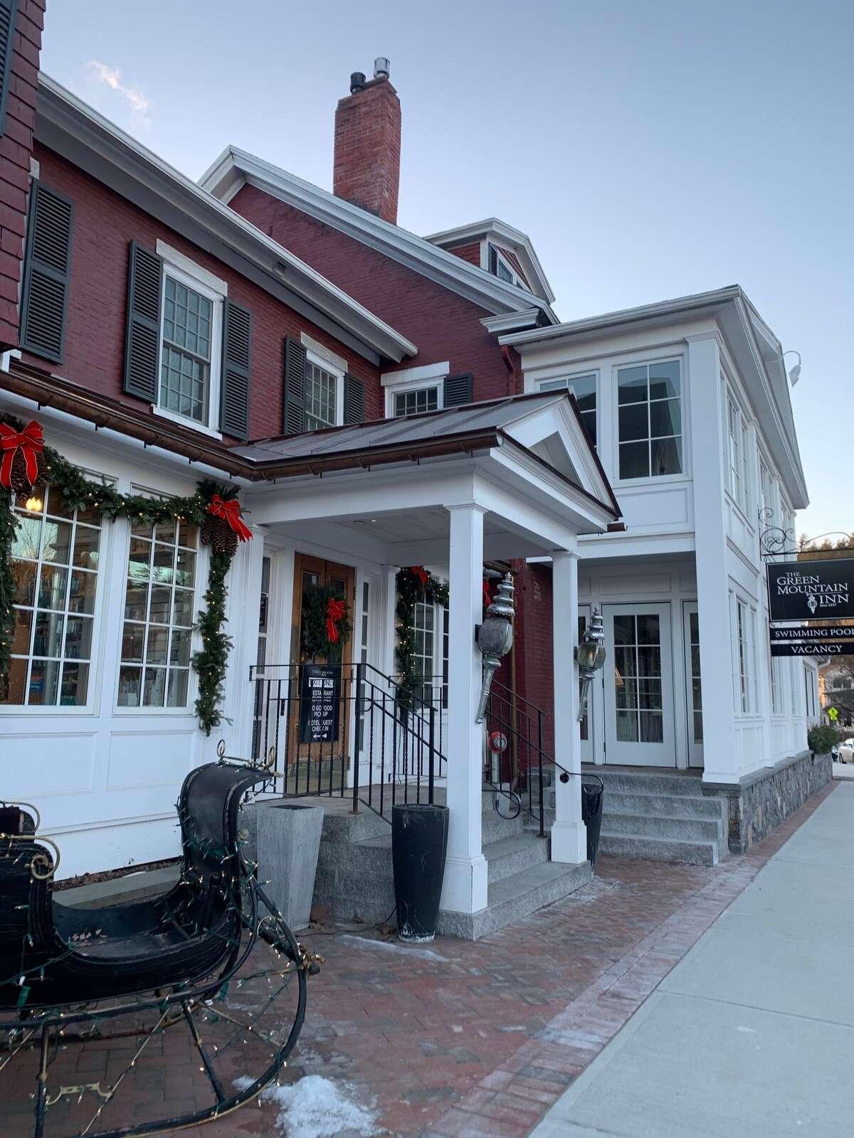 Quaint shops dot the town of Stowe, Vermont.