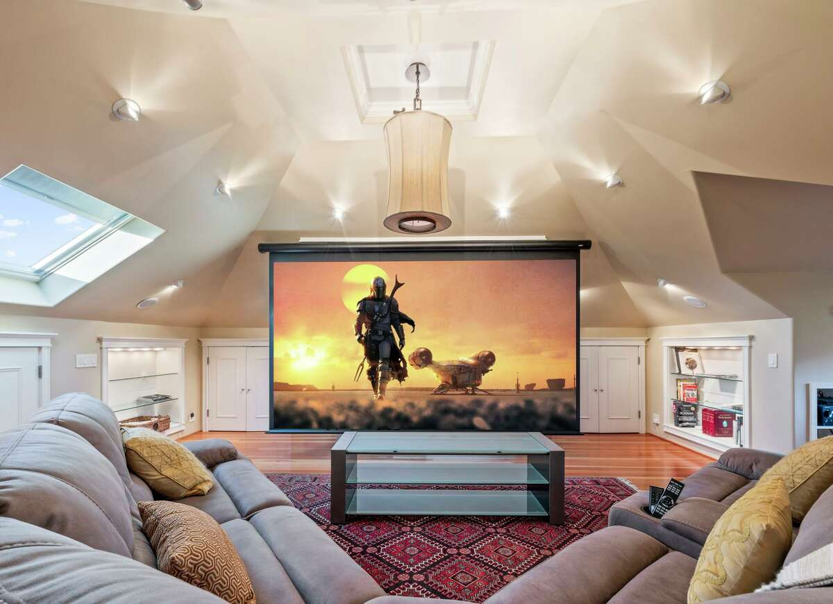 The Napa home includes a cinema screen on its top level.