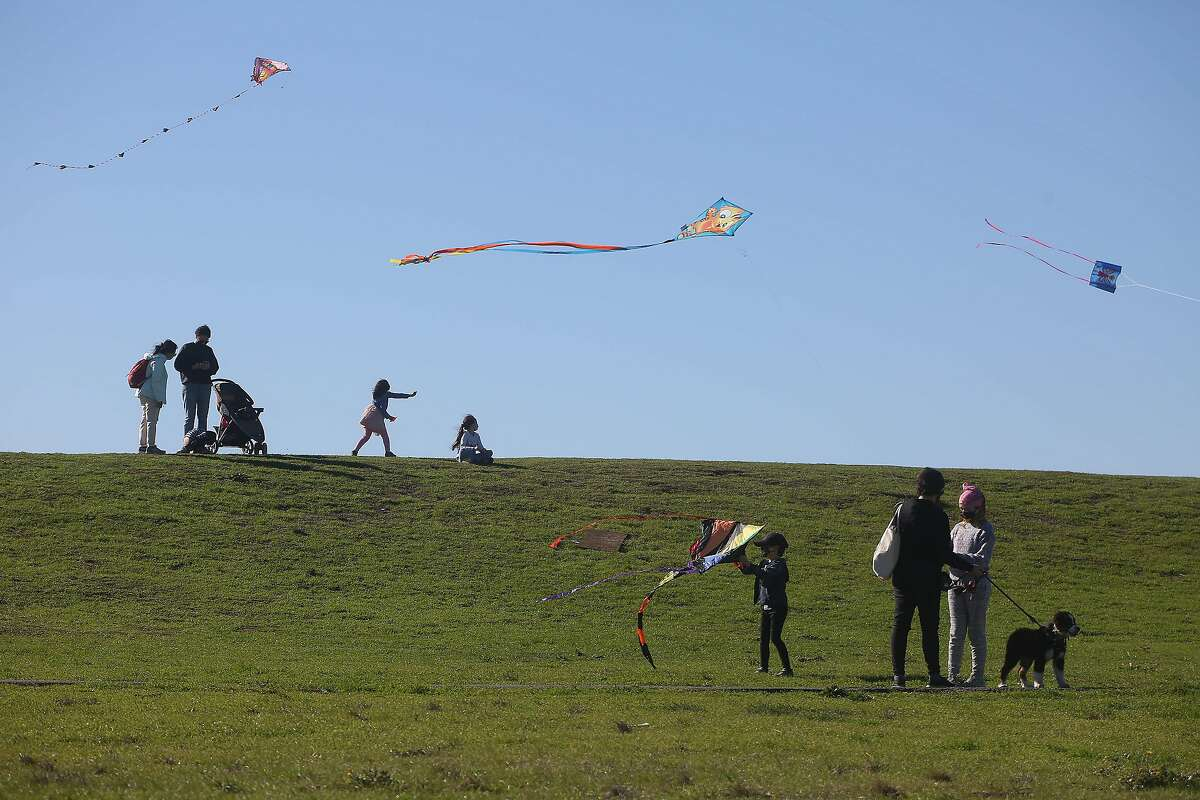 People enjoy C�sar E. Ch�vez Park as they fly their kites on Monday, January 18, 2021 in Berkeley, Calif.
