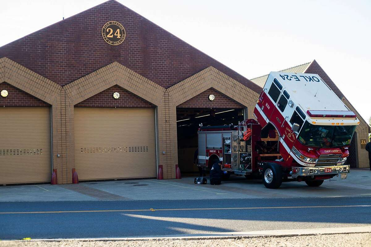 An Oakland Fire Station #24 engine gets inspected on the morning of Janurary 16, 2021 in Oakland, CA.