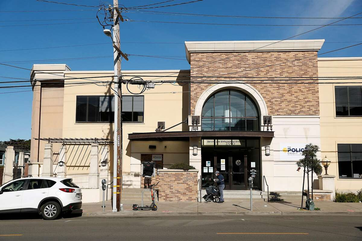 The Police Credit Union at 26th Avenue and Irving Street in San Francisco is the site of a planned seven-story affordable housing structure, which has some neighbors raising an outcry.