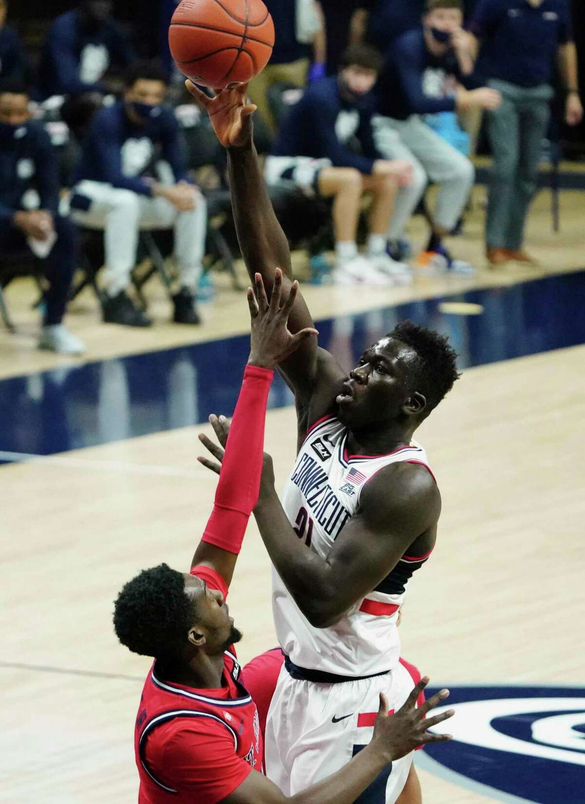 UConn forward Adama Sanogo shoots against St. John's in the first half in Storrs on Monday.
