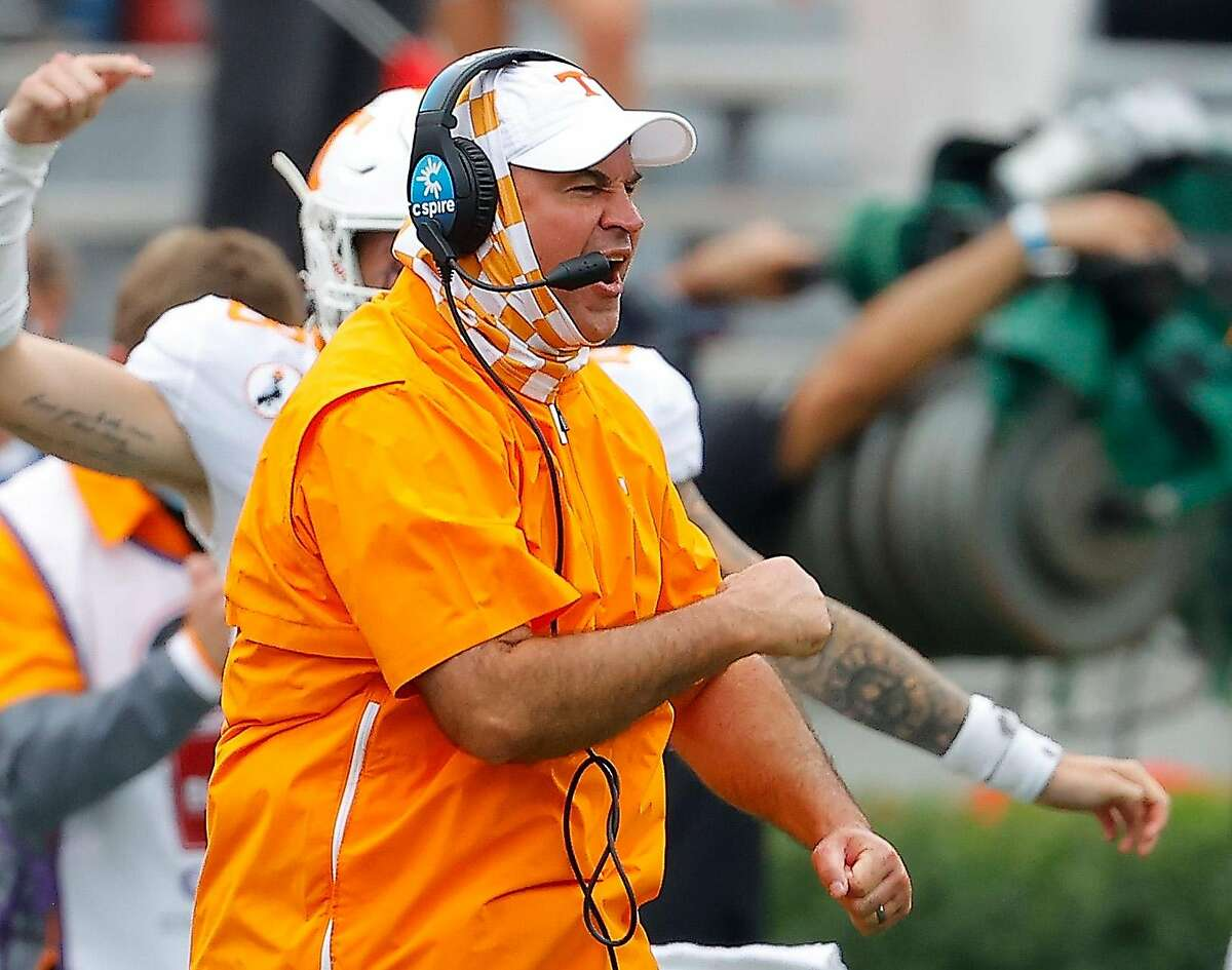 Head coach Jeremy Pruitt of the Tennessee Volunteers reacts to a touchdown against the Georgia Bulldogs during the first half at Sanford Stadium on Oct. 10, 2020 in Athens, Georgia. (Kevin C. Cox/Getty Images/TNS)