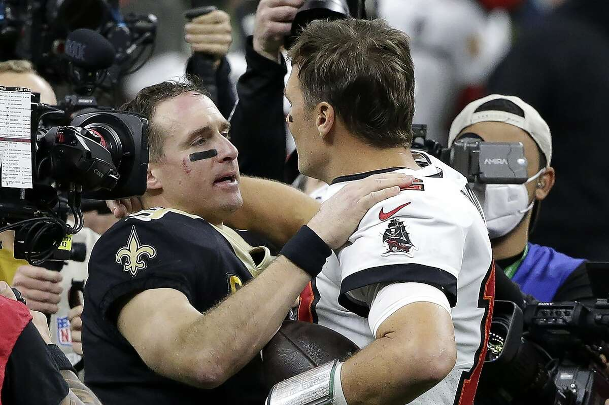 The season is over for the Saints' Drew Brees (left), but the Buccaneers' Tom Brady has another shot at a Super Bowl.