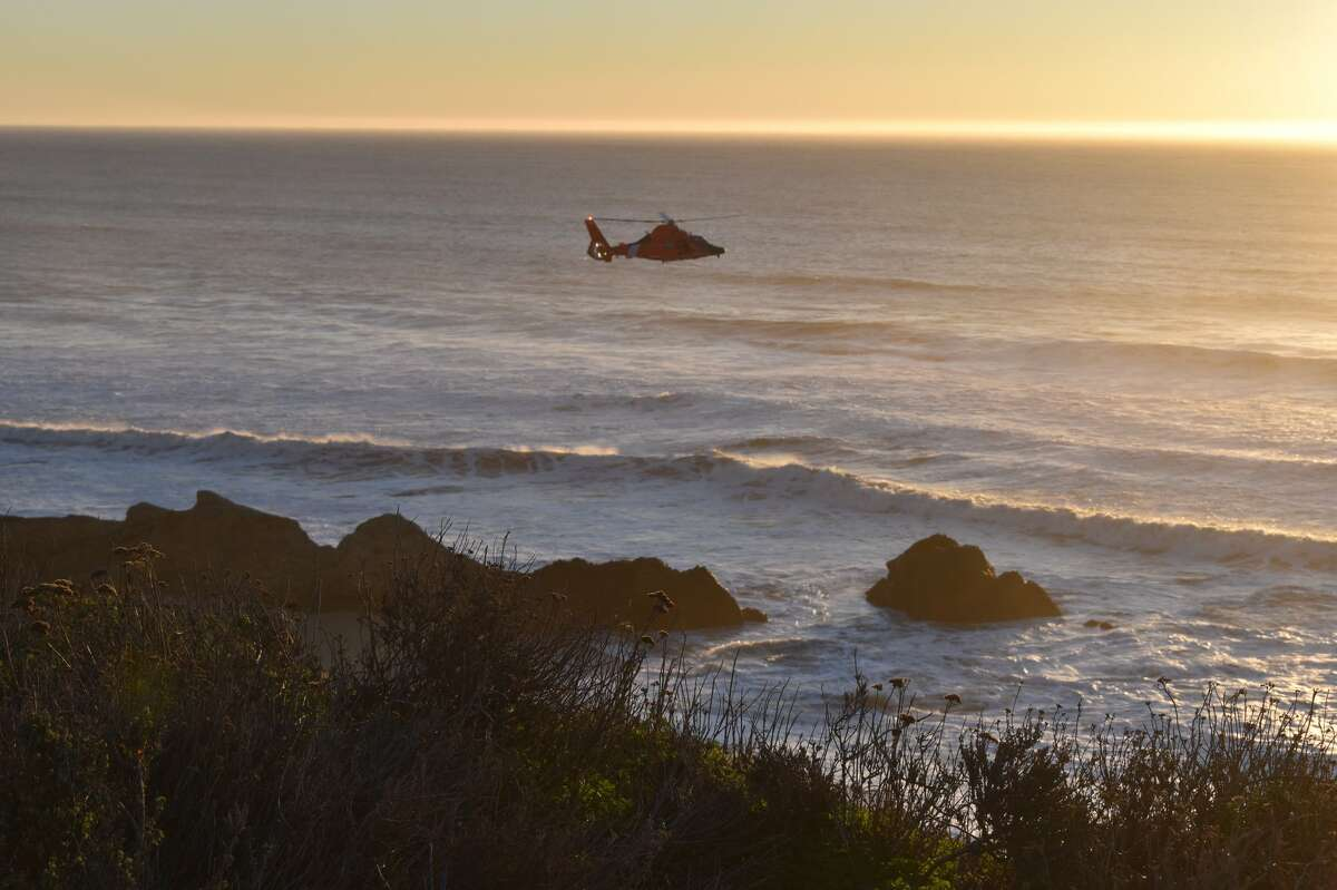 Rescue crews searched for a child who was swept to sea at Cowell Ranch State Beach on Monday.