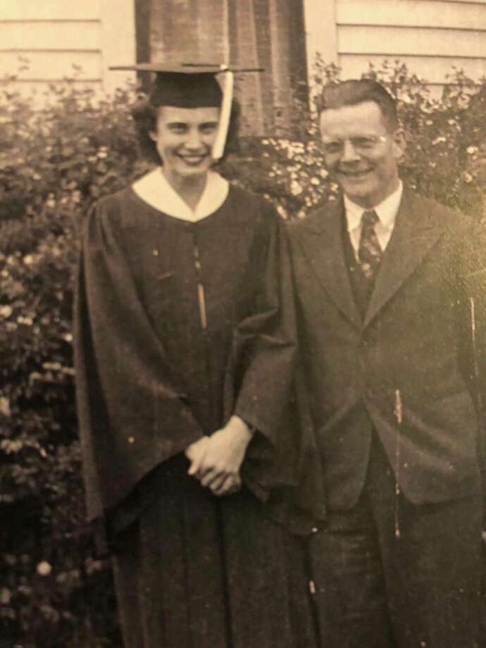 This is Frank Clark and his daughter Leona on the day she graduated from high school. Frank Clark is Samuel Hubbell's grandson. Leona Clark Seamster is the great-granddaughter of Samuel Hubbell. (PhotoProvided)