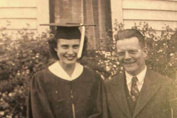 This is Frank Clark and his daughter Leona on the day she graduated from high school. Frank Clark is Samuel Hubbell's grandson. Leona Clark Seamster is the great-granddaughter of Samuel Hubbell. (Photo Provided)