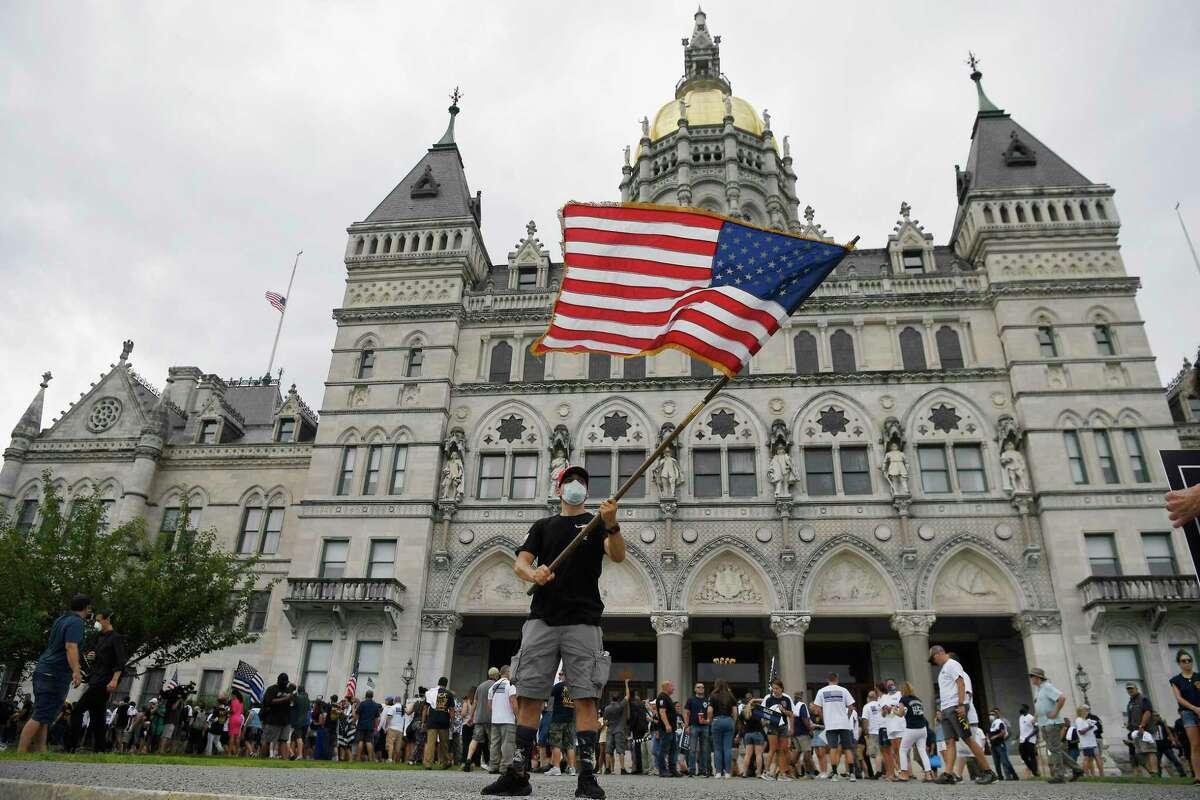 """A """"Back the Blue"""" rally to show support for law enforcement officers at the State Capitol in Hartford, Connecticut, on July 23, 2020."""