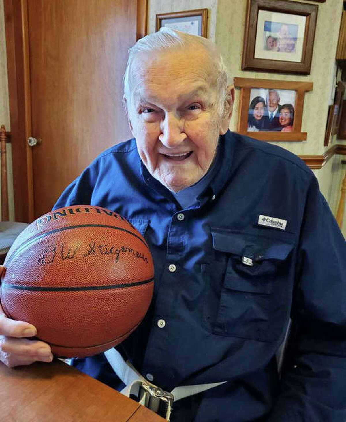 Staunton's Del Stiegemeier, a 97-year-old veteran of World War II, will be inducted in the Friends of Basketball category by the IBCA Hall of Fame when the Class of 2021 is honored later this year at Illinois State in Normal. He was the scorekeeper for Staunton Bulldogs basketball for 25 seasons, ending with a Class A state championship in 1993.