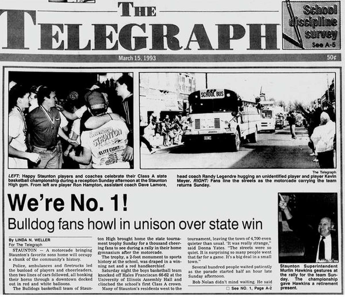 The front page of the March 15, 1993 edition of The Telegraph covers Staunton's welcome-home celebration after the Bulldogs won the Class A state championship in Champaign.