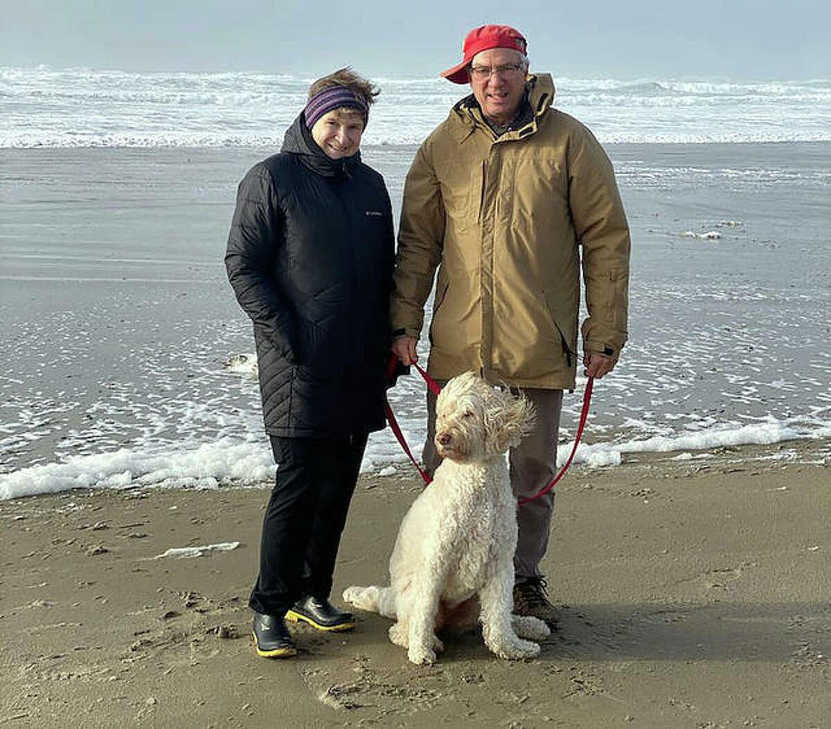 Edwardsville graduate Jim Krejci, his wife, Betty, and their dog, Haley, at Oregon Beach on Dec. 29, 2020.