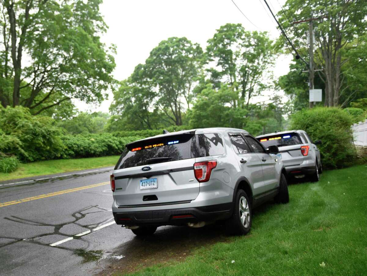 A file photo of Connecticut State Police cruisers participating in a search back in 2019 linked to the disappearance of Jennifer Dulos.