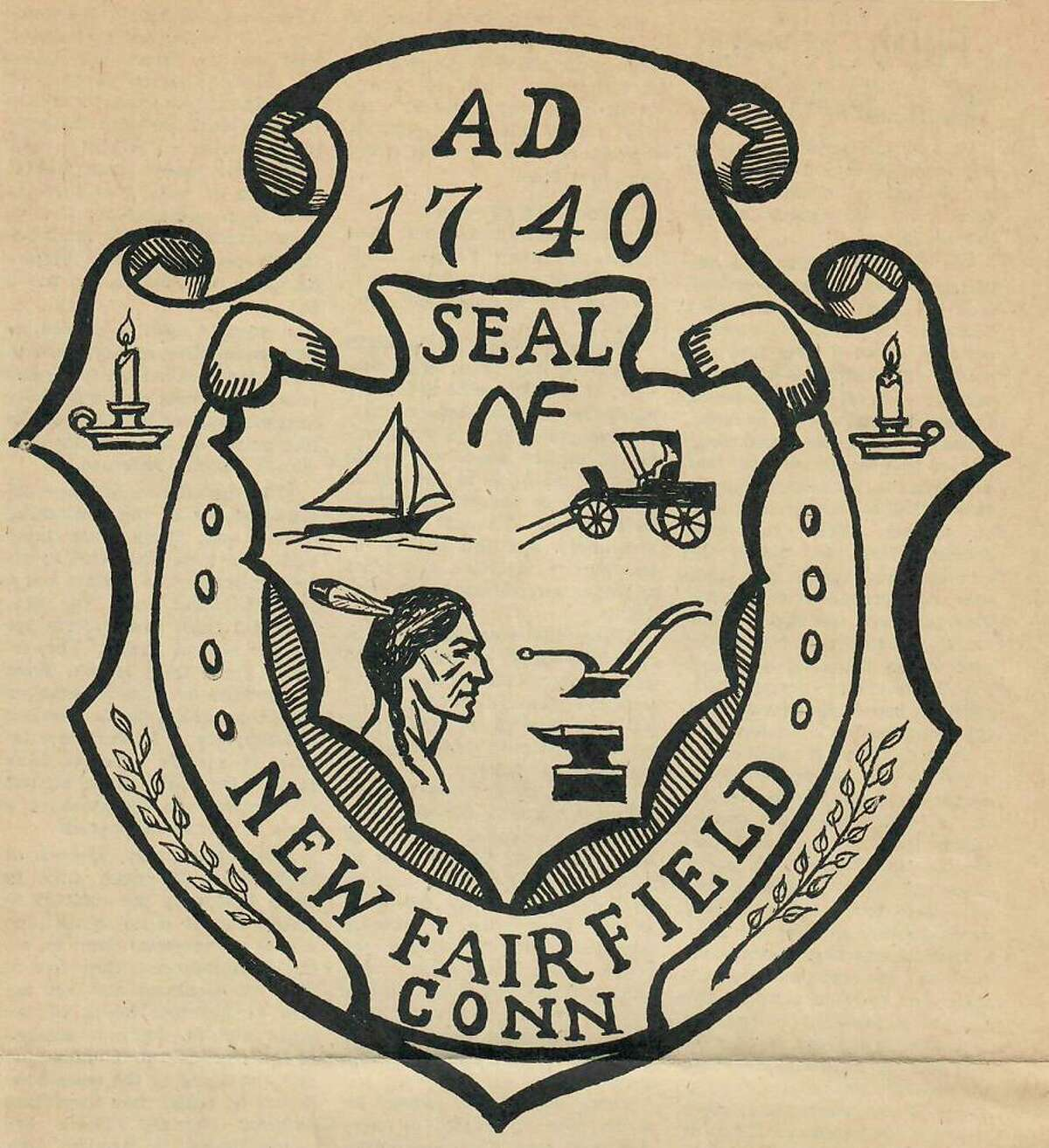 A rendering of the to-be-approved New Fairfield town seal published in the New Fairfield Crier in September 1968.