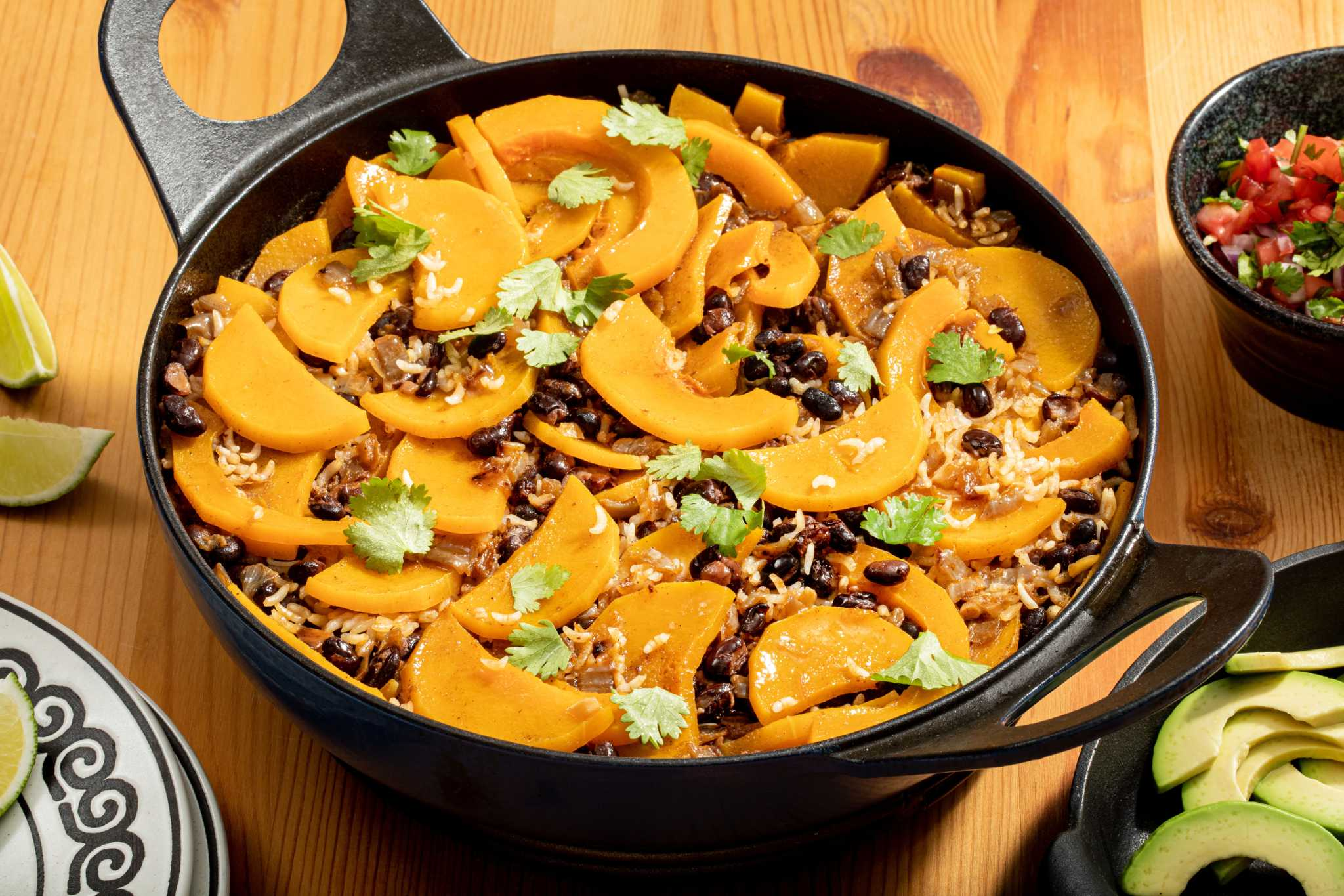 This one-pot pumpkin, black beans and rice recipe makes cleanup a breeze