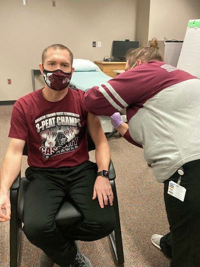 Adam Dorland was one of 50 staff members at Cass City Public School that were able to receive the COVID-19 vaccine through Hills and Dales Hospital last week. Other Upper Thumb hospitals await the arrival of more vaccines before scheduling additional vaccine clinics. (Courtesy Photo)