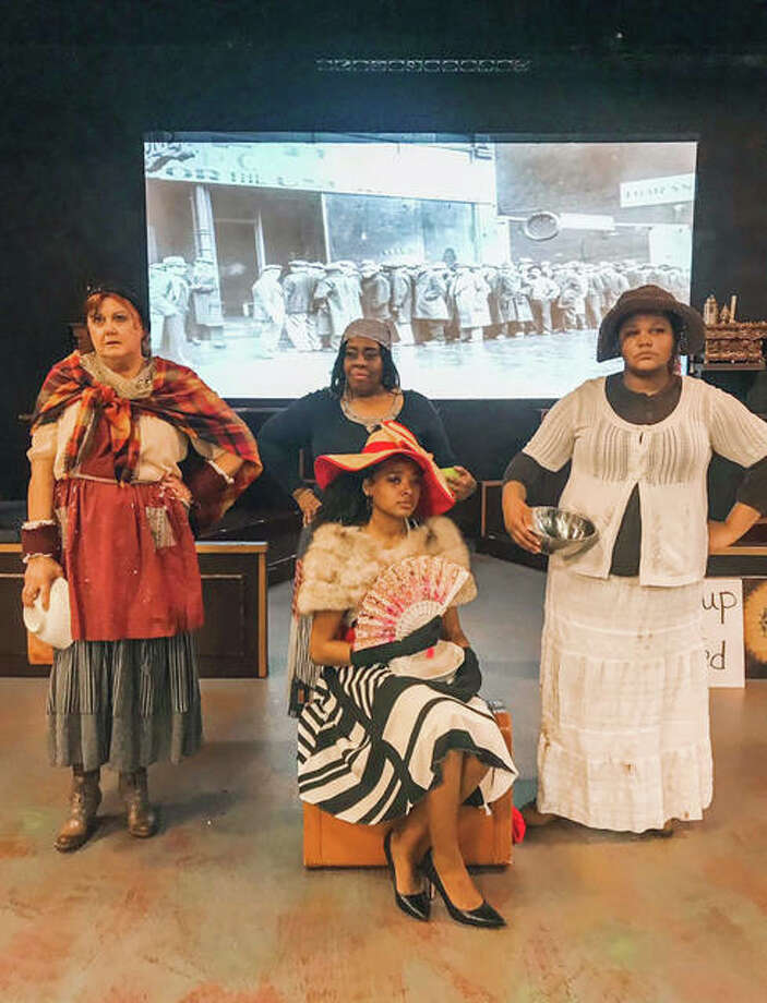 Adri Marie Jones, front, and, from left back, Lee Cox, Tracy Webster Cooley and A'myiah Pittman will appear in the Great Depression/Soup Lines Blues vignette in honor of Black History Month.