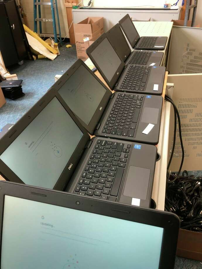 New Dell Chromebooks are being updated and set up to be given to students at Kaleva Norman Dickson Schools. (Courtesy photo)