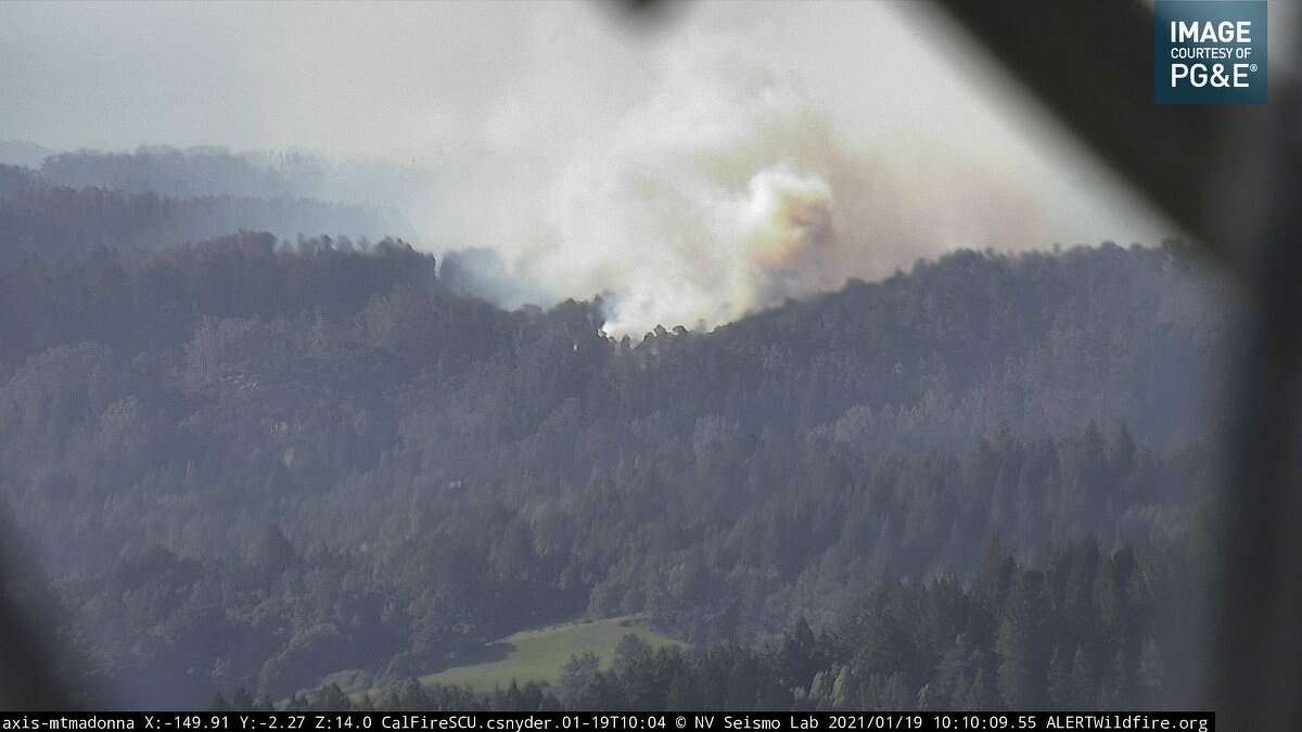 A wildfire burns in the Santa Cruz Mountains on Jan 19, 2021. According to CZU Calfire, one fire is off Freedom Boulevard in Watsonville and one is in the Boulder Creek area off of Highway 9.