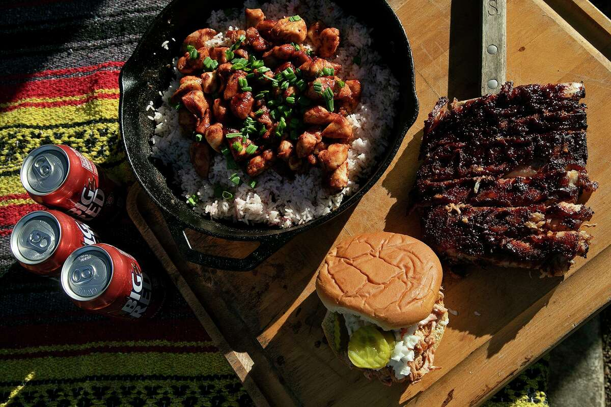 Big Red soda is used to cook an assortment of chicken, ribs and pulled pork by Chuck Blount at Chuck's Food Shack.
