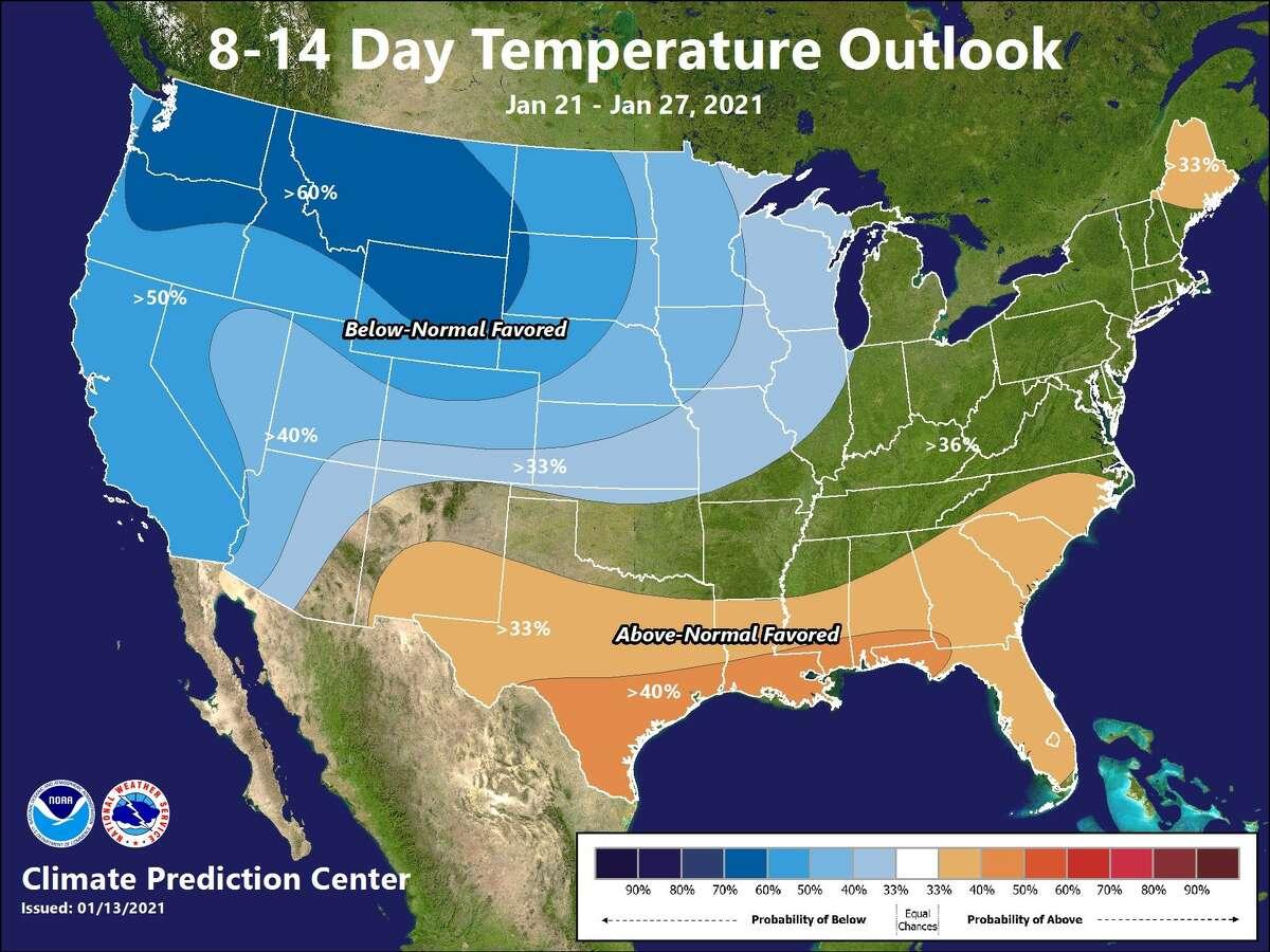 Below-normal temperatures might lead to snow.