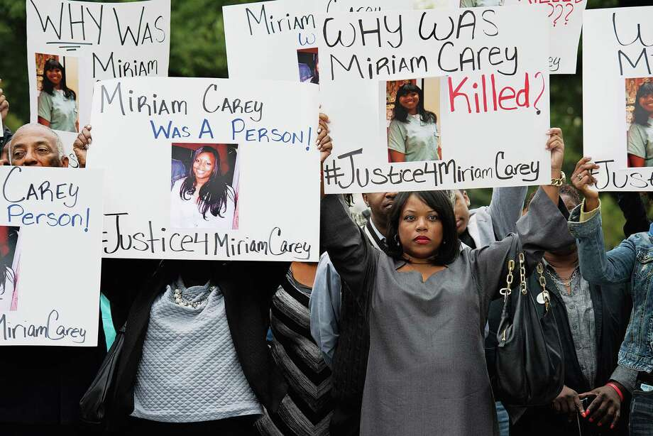 Valarie Carey, sister of Miriam Carey, joins family and friends in a silent protest at the U.S. Capitol grounds in October 2014. Photo: Washington Post Photo By Linda Davidson / The Washington Post