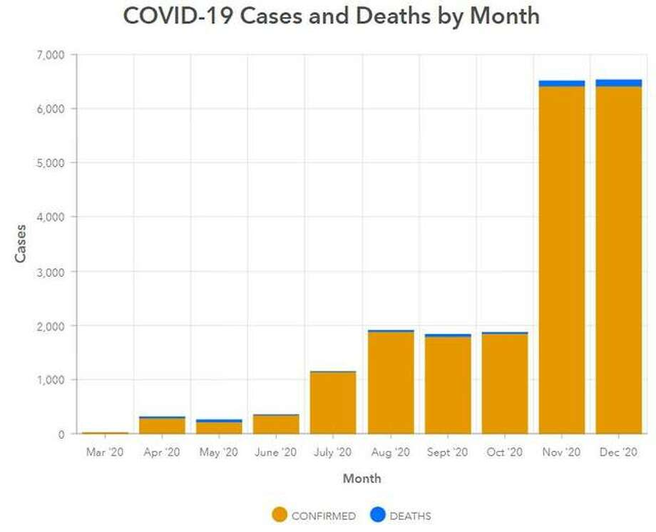 This Madison County Health Department graphic illustrates the COVID-19 deaths in the county per month March through December 2020.