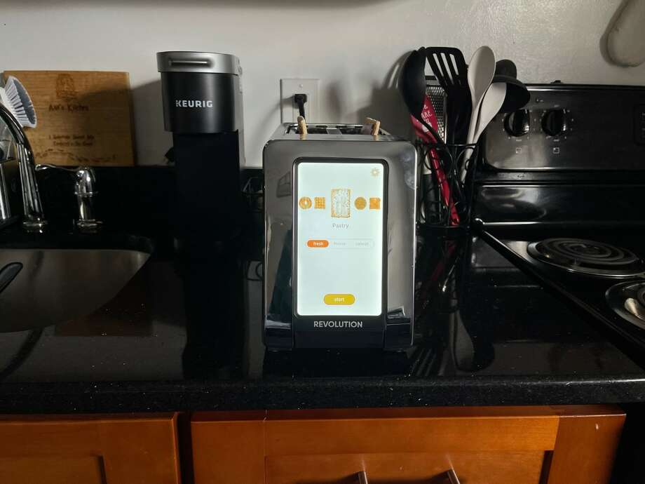 Testing the Tik Tok viral Revolution toaster (which retails for $299.95) Photo: Ana Suarez For Hearst Newspapers