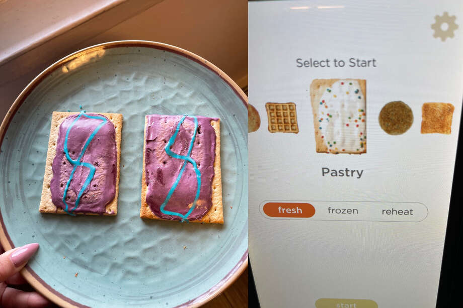 Pop-Tarts are not appealing when toasted, sorry for this visual. The Revolution Pop-Tart on the left, the Hamilton Beach Pop-Tart is on the right Photo: Ana Suarez For Hearst Newspapers