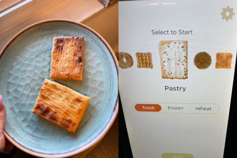 The Hamilton Beach toaster strudel is on top, the Revolution toaster strudel is on bottom Photo: Ana Suarez For Hearst Newspapers