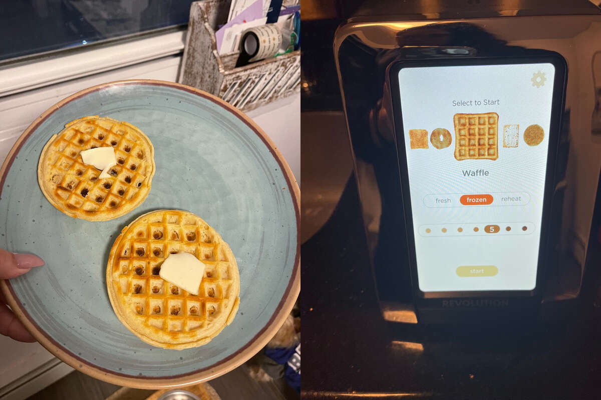 The Revolution waffle is on top, the Hamilton Beach waffle is on the bottom