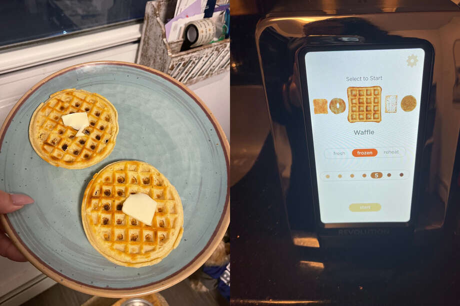 The Revolution waffle is on top, the Hamilton Beach waffle is on the bottom Photo: Ana Suarez For Hearst Newspapers