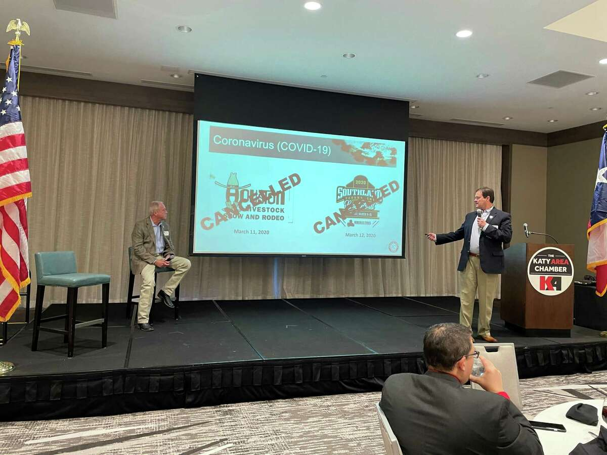 Mayor Bill Hastings and city administrator Byron Hebert discuss the status of the city of Katy at a Katy Area Chamber of Commerce event Jan. 15, 2021.