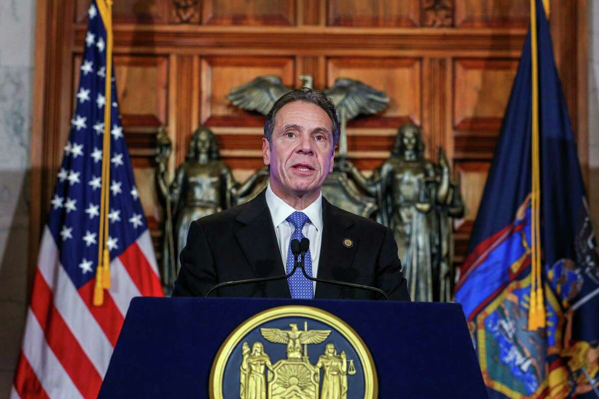 Gov. Andrew M. Cuomo presents his Fiscal Year 2022 Executive Budget on Tuesday, Jan. 19, 2021, at the Capitol in Albany, N.Y. (Mike Groll/Office of the Governor)