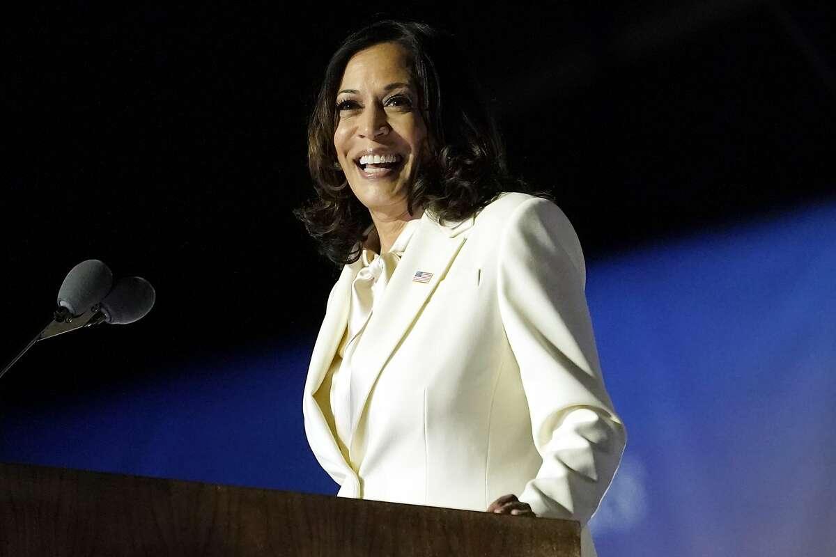 Vice President-elect Kamala Harris speaks in Wilmington, Del., on Nov. 7, 2020.