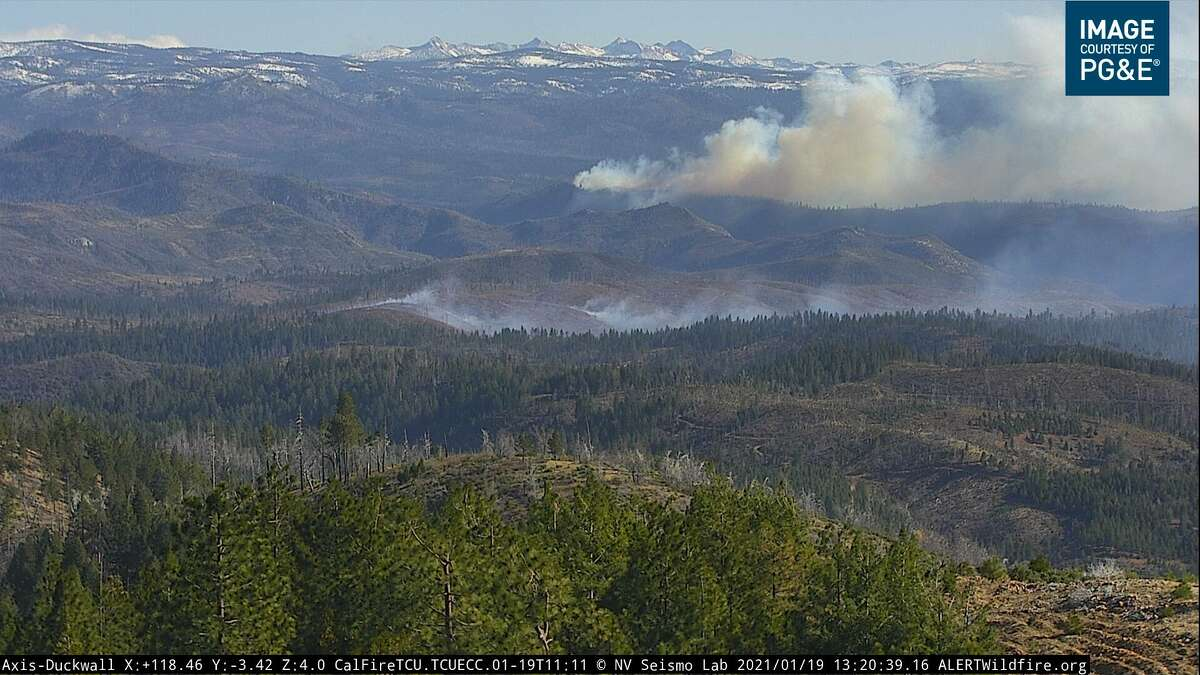 A wildfire broke out in Stanislaus National Forest near Yosemite National Park on Jan 19, 2021.