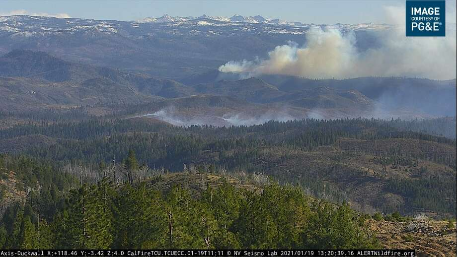 A wildfire broke out in Stanislaus National Forest near Yosemite National Park on Jan 19, 2021. Photo: PG&E Webcam