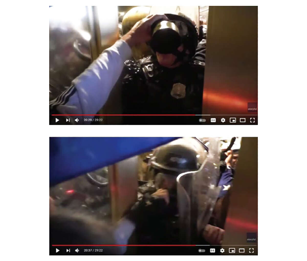 Metropolitan Officer Daniel Hodges became pinned between the riot shield police say was held by McCaughey and a door.