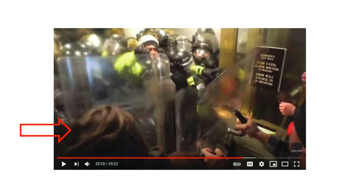 """The man police identify as McCaughey was captured on police body camera. In the video, he """"can be seen striking [an] officer"""" with a police riot shield."""