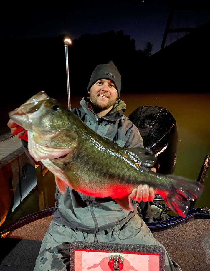 "On Thursday, CJ Oates from Largo Vista reeled in a massive 13.02-pound largemouth bass while out fishing in Lake Austin. According to the Texas Parks and Wildlife Department, largemouth bass over 12 pounds are ""extremely rare."" Photo: Toyota ShareLunker Program - Texas Parks And Wildlife"