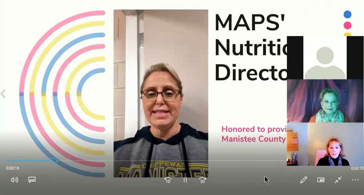 The Manistee County Human Services Collaborative Body held its annual meeting virtually for the first time in its 33 year history. MAPSnutrition director Keri Carlson (center) discussesthe importance of the Manistee County Council on Aging's new senior nutrition programat the Jan. 6 meeting. (Screenshot/Zoom)